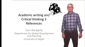 Academic writing and Critical thinking 3 - References