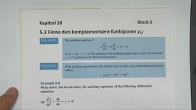 Thumbnail for entry Kapittel 20 5.3-2 Finne den komplementære funksjon - eksempler 2