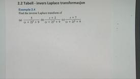 Thumbnail for entry Kapittel 22 2.2-2 Invers Laplace transformasjon eksempel 2.4