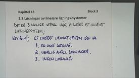 Kapittel 13.3 Løsniner av lineære liknings-systemer