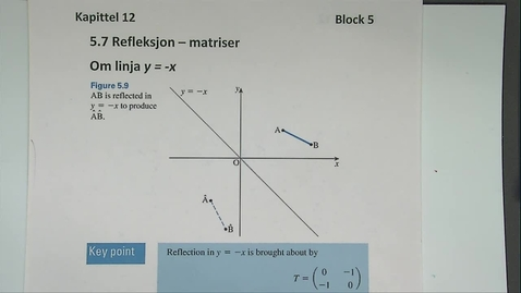 Thumbnail for entry Kapittel 12 5.7-4 Refleksjon om linja y=-x - matriser