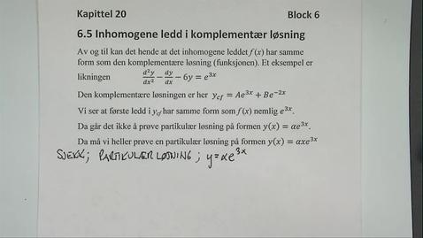 Thumbnail for entry Kapittel 20 6.5 Inhomogene ledd i komplementær løsning