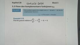 Kapittel 20 5.3-4 Finne den komplementære funksjon - komplekse røtter 2