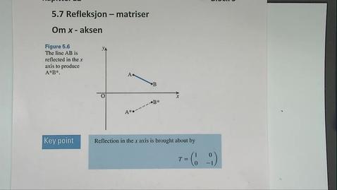 Thumbnail for entry Kapittel 12 5.7 Refleksjon om x-aksen - matriser