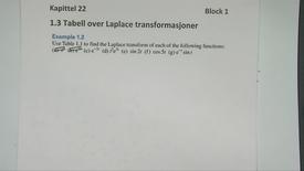 Kapittel 22 1.3-2 Tabell over Laplace transformasjoner eksempel 2