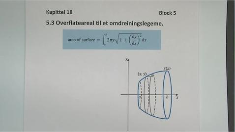 Thumbnail for entry Kapittel 18 5.3 Overflateareal til et omdreiningslegeme