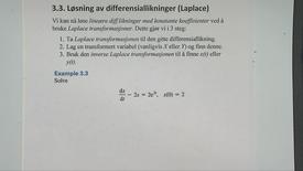 Kapittel 22 3.3 Løsning av diff.likninger ved Laplace - eksempel 3.3