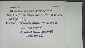 Kapittel 13.3 Løsninger av lineære liknings-systemer