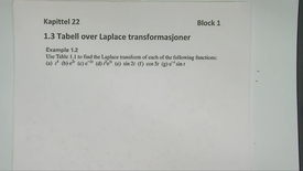 Thumbnail for entry Kapittel 22 1.3-1 Tabell over Laplace transformasjoner eksempel 1
