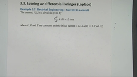 Kapittel 22 3.3-4 Løsning av diff.likninger ved Laplace - eksempel 3.7