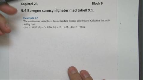 Thumbnail for entry Kapittel 23 9.4-1 Beregne sannsynligheter med tabell eksempel 9.1