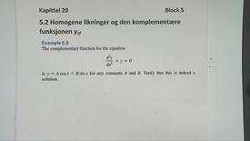 Kapittel 20 5.2-1 Homogene likninger og komplementær funksjon - eksempel