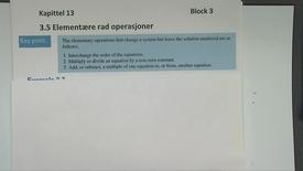Kapittel 13 3.5 Elementære rad operasjoner