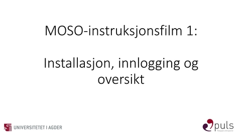 Thumbnail for entry MOSO: 1. Innlogging og oversikt