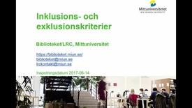 Thumbnail for entry Inklusions- och exklusionskriterier
