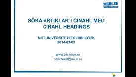 Thumbnail for entry Söka artiklar i Cinahl med Cinahl Headings
