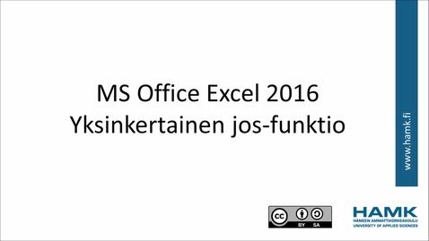 Excel 2016:yksinkertainen jos-funktio