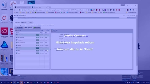 """Thumbnail for entry Adobe Connect - Hitta/visa inspelningar från rum där du är """"Host"""""""