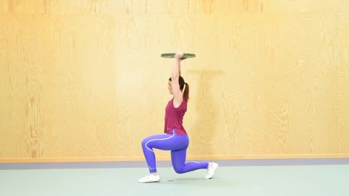 Lunges with weight overhead, lunges with kettlebells, lunges with dumbbells