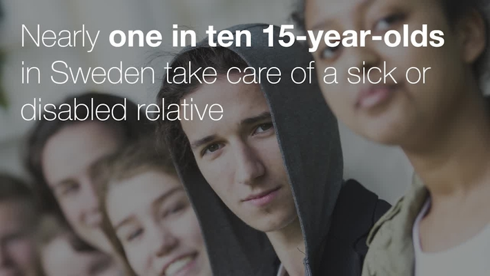 Nearly one in ten 15-year-olds in Sweden take care of a sick or disabled relative