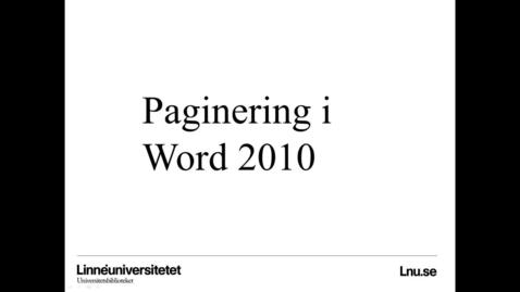 Miniatyrbild för inlägg Paginering i word